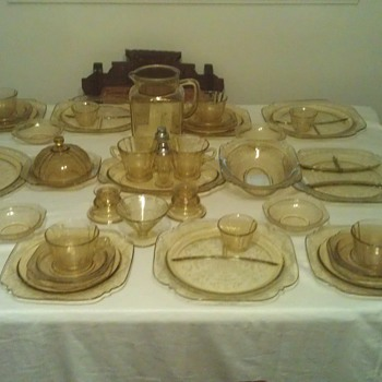 Set of Amber Madrid Depression Glass