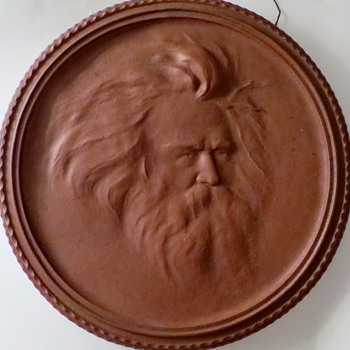 "Large Terra Cotta Portrait Relief, BRAHMS?, 15"" Diameter , 1+1/4"" Thick~Antique"