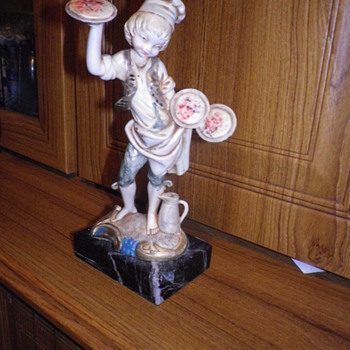 Carrara marble base and the Pizza boy on top, marked as Carrara marble but what is the boy called or model number? - Figurines
