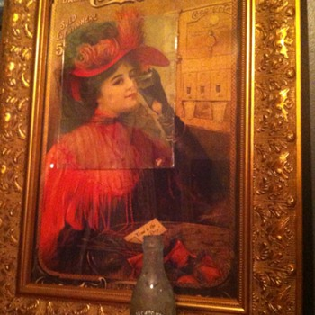 "Coca-Cola 1909, ""Good To The Last Drop"" rare 14x22 sign, remnant overlaying reprint  - Coca-Cola"