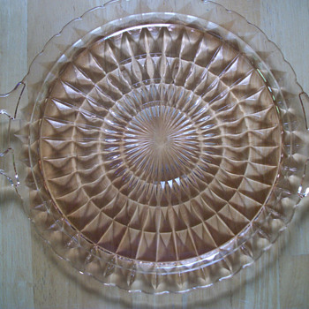 "Jeannette Glass Windsor Diamond 10.25"" Handled Cake Plate Vintage 1930s"