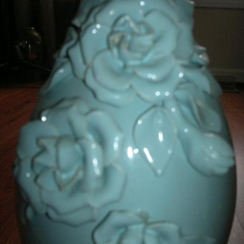 Aqua green flowered  vase 
