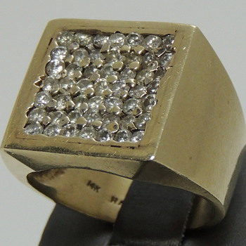 14K Gold Men's Ring - 49 Tiny Diamonds - Marked HA