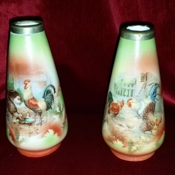 PAIR OF HANDPAINTED  RIMMED VASES GERMANY - Art Pottery