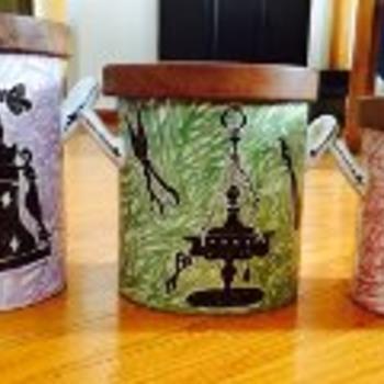 "Mysterious ""Flower Painter"" mid-cen Italian canister set - Art Pottery"