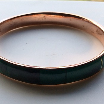 Vintage malachite bangle - Costume Jewelry
