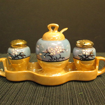 Vintage Lusterware Condiment Set with Tray Stamped made in Japan