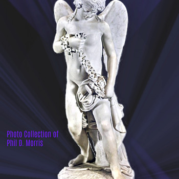 Antique Marble Statue by Joe Cormier (Joe Descomps) of Cupid With a Garland of Flowers, 32 Inches High. - Visual Art