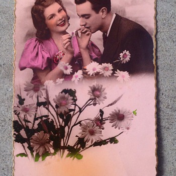 Paris Postcard of Lovers signed by artist  - Postcards