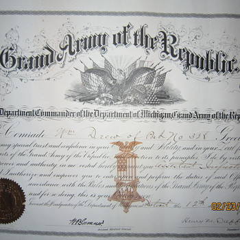 1890 Michigan Grand Army of the Republic Assistant Inspector Document with Seal  - Military and Wartime