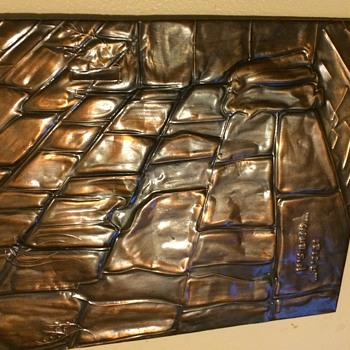 ANTIQUE COPPER HEBREW HAND FORGED Western (Wailing) Wall  - Visual Art