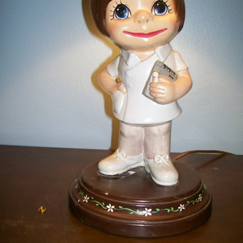 Ceramic 1960's Nurse Lamp  - Lamps
