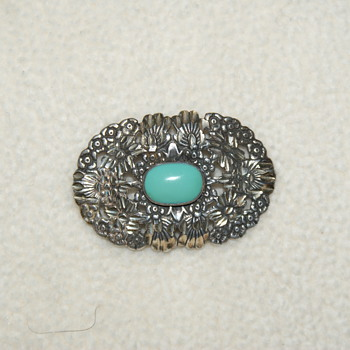 Brooch with Blue Cabochon Marked Sterling