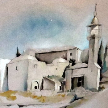 Beautiful signed original watercolor may be a  European whitwashed Church? - Visual Art