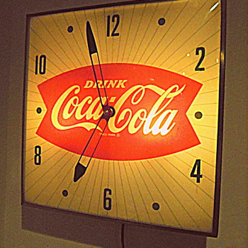 1960's, Glass Front, Lightup Coca-Cola Clock - Coca-Cola