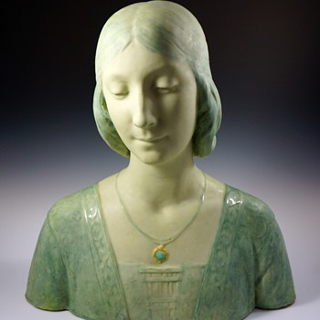 1895 Art Nouveau Faience Bust by Edmond Lachenal &amp; Horace Daillion