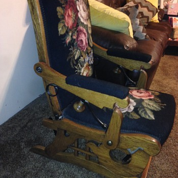 Antique Platform Rocker Recliner Rocking Chair