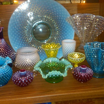 Super Rare Fenton Blue Opalescent &quot;Torte plate&quot; and Other Hobnail Finds