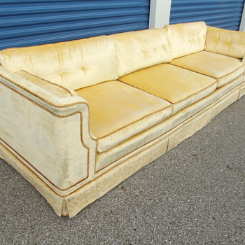 Vintage Mid Century Modern Velvet Sofa Signed Makers Mark? Looking for Info.