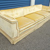 Vintage Mid Century Modern Velvet Sofa Signed Makers Mark? Looking for Info.