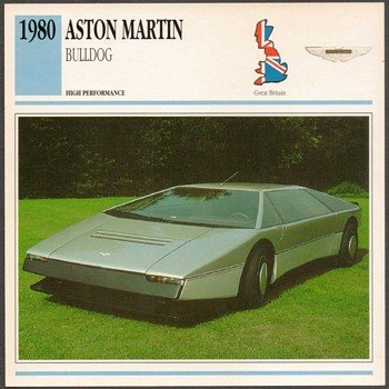 Vintage Car Card - Aston Martin Bulldog - Classic Cars