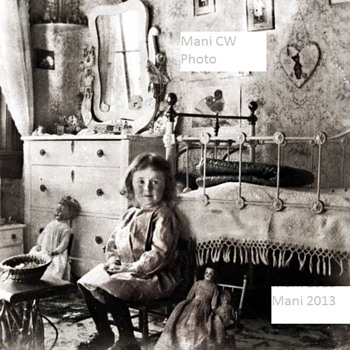 Old Photo Girl and Toys  - Photographs