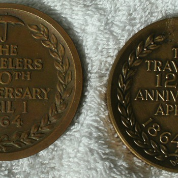 Travelers Insurance Co. 100th & 125th Anniversary Medallions   - Medals Pins and Badges