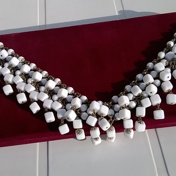 Unusual Brass & Milk Glass Choker Necklace Thrift Shop Find $4.75