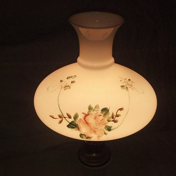brass & marble vintage milk glass hand painted huricane table lamp