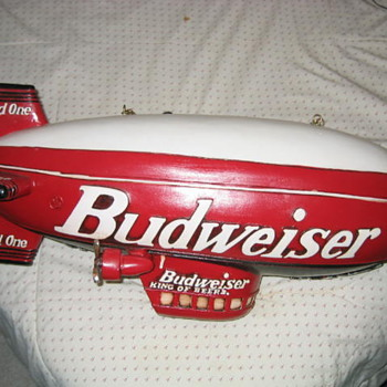 "Wooden Replica of the Budweiser ""Bud One"" Blimp - Breweriana"