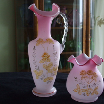 Pink & White Cased Glass Rose Bowl and Ewer with Enameled Flowers- Who Dunnit? - Art Glass