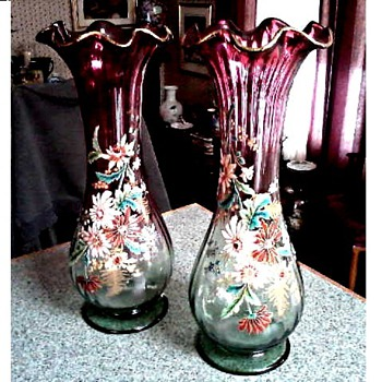 "Victorian Cranberry and Green Glass 14"" Vases /Ruffle Top Raised Floral Enamel/ Circa Late 19th Early 20th Century - Art Glass"
