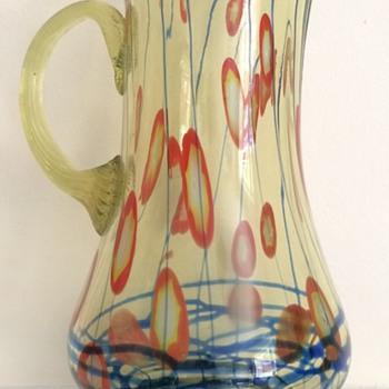 Kralik lines and canes uranium jug - Art Glass