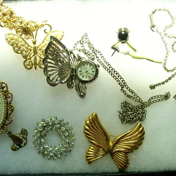 Some of my Costume Jewelry and a Butterfly neck watch  - Costume Jewelry