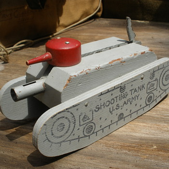 "Keystone ""Shooting Tank"" Wooden with spring fired cannon! 1940s"