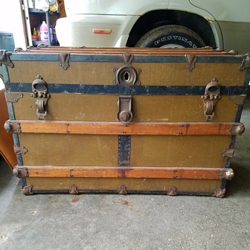 "Antique steamer trunk?  Hardware says ""Eagle and Co."", no date on it that I can see - Furniture"