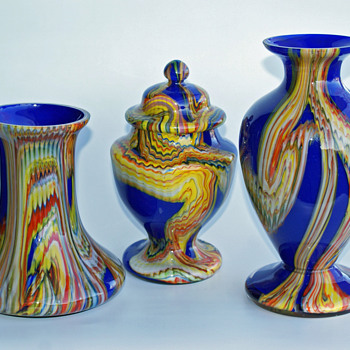 Kralik Marbled -or- Kaleidoscope Candy Dish and Vases