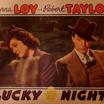 """Lucky Night"" Lobby Cards Myrna Loy and Robert Taylor"
