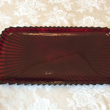 Red ruby bowl with tray or platter to match - Glassware