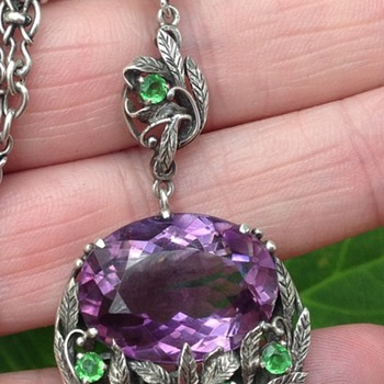 Bernard Instone Amethyst and Green Paste Silver Pendant/Necklace - Art Deco