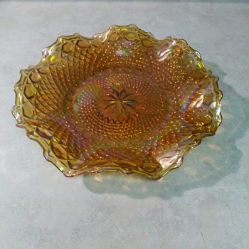 INDIANA GLASS MARIGOLD IRIDESCENT TRAY