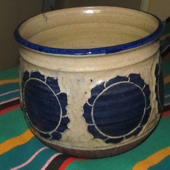 Blue Pottery Pot Signed