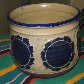 Blue Pottery Pot Signed  - Art Pottery