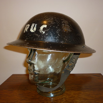 WWII Royal Ulster Constabulary (Police) steel helmet.