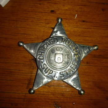chicago police supt. staff badge 1920,s - Medals Pins and Badges