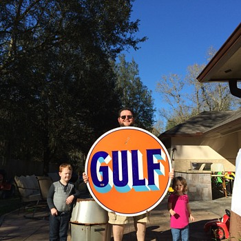 "1920's GULF 42"" porcelain sign"