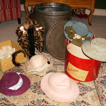 Tin Bucket Full Of Doll Hats - Dolls