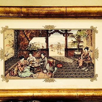 Old Tile (framed) with an oriental scene - Asian