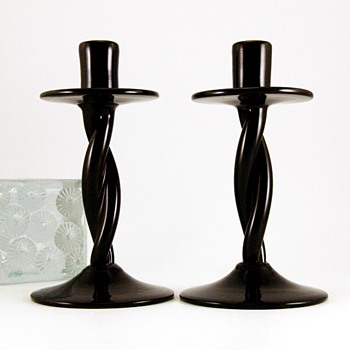Pre-Designer Blenko Black Amethyst Twist Candlestick Holder Set
