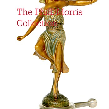 Danseuse Egyptienne, Patinated Bronze Mascot, Signed By Georges Omerth, Art Deco, Circa 1925